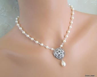pearl necklace, bridal necklace, bridal pearl necklace, rhinestone necklace, crystal necklace, pearl and crystal wedding necklace, ROSELANI