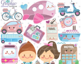 Travel Clipart, Travel Graphics, COMMERCIAL USE, Kawaii Clipart, Road Trip Clipart, Planner Accessories, Travel Party, Tourism
