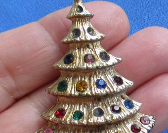 Vintage Christmas Tree Multi Colored Rhinestone Textured Brooch Missing Rhinestones TLC