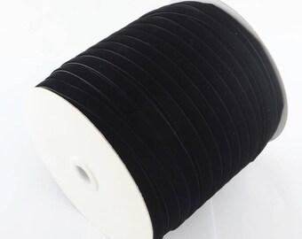 """2m/5m/10m,  1/4"""" (6.5mm),  Single Face Velvet Ribbon, Choker Ribbon , Velvet Choker Ribbon in Black"""