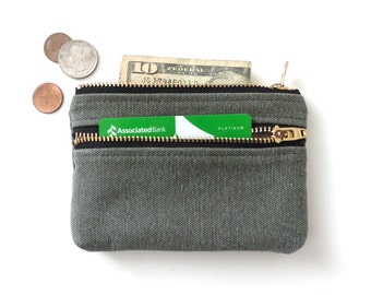 Distressed Canvas Coin Purse Wallet Double Zipper Pouch