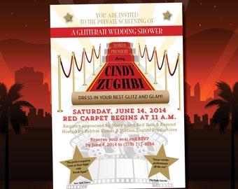 RED CARPET bridal wedding shower invitations DIY printable Movie premiere