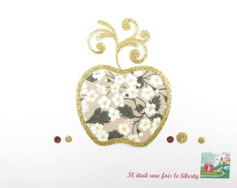 """Applied fusible Apple liberty Mitsi nougat and gold glitter fabric """"Apple of the Hesperides"""" patch iron iron on patches apple"""