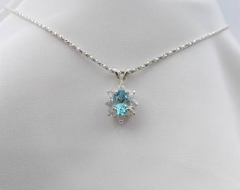 Sterling Silver Blue & White Zircon Pendant