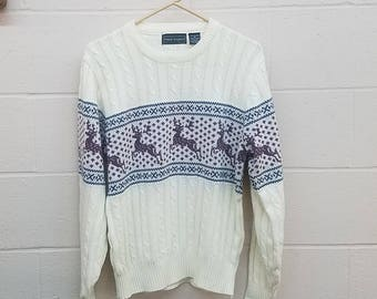 Christmas Sweater   Scandinavian Knit Sweater    Size Medium Vintage Sweater    Peter England Jumping Reindeer Sweater White Jumper