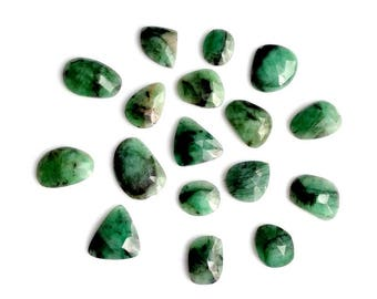 Emerald Slices, Emerald Faceted Slices, Natural Emerald Rose Cut Slices, Emerald Designer Mixed Slices, 11x9-18x12 MM,