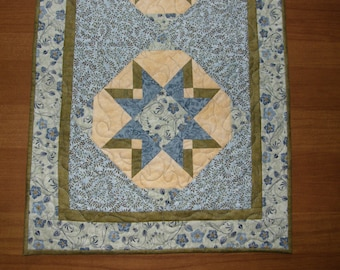 Long Blue Quilted Table Runner, Blue Patchwork Table Runner Quilt, Blue Quilted Bed Runner, Blue Yellow Table Runner,  Quiltsy Handmade