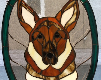 Stained Glass Pet Portraits / German Sheppard/Miniature Terrier