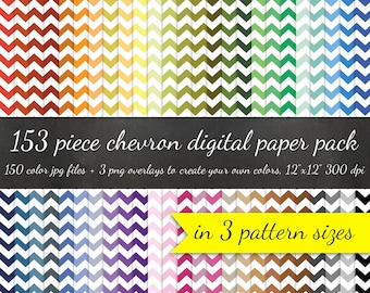 Chevron Digital Scrapbook 153 Piece Paper Pack - 3 Pattern Sizes 50 Colors Each and 3 Chevron Overlays - Digital Scrapbooking Paper