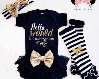 PERSONALIZED Baby Girl Hello World Shirt Sparkle Baby Shower Gift Bodysuit Baby Girl Shirt Sparkle Shirt Glitter Shirt Baby Gift