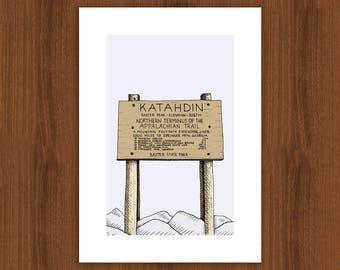 Mount Katahdin Summit Sign, greeting, card, print, congratulatory, Appalachian Trail, Maine hiking, AT, Baxter State Park, backpacking, camp