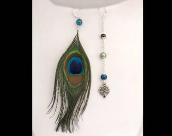 Peacock feather earrings and charm