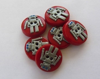Robot Buttons (ANY COLORS) - Set of 6