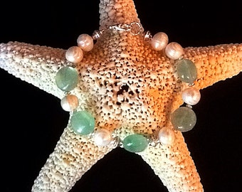 Gorgeous chunky fluorite freshwater pearl bracelet, wedding, bridesmaid bracelet, resort jewelry, seafoam, beach bracelet, boho bracelet