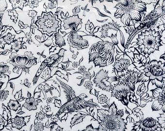 Liberty London Tana Lawn fabric Joyce -9''x26'' dark navy-  Fat Eighth - Seasonal Collection