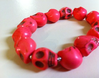 Bubblegum Pink Day of the Dead Skull Bracelet