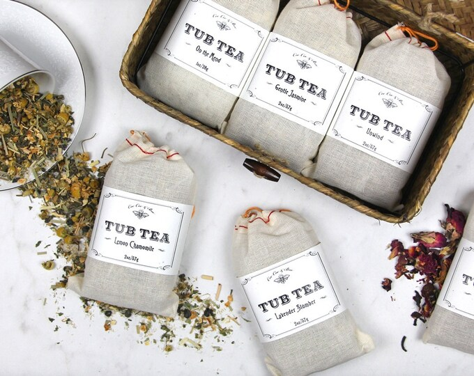 Bath Gift Set - 6 Tub Tea Teas in Seagrass Keepsake Box