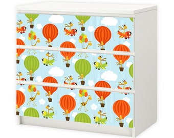 012 furniture foil for IKEA MALM - giraffe balloon - 3 drawers sticker adhesive foil (furniture not included)