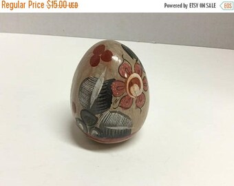 Sale Vintage Mexican Folk Art Egg Hand Painted Egg Handpainted Made in Mexico Egg Pottery