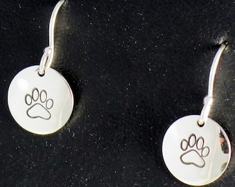 Dog lover, Dog Paw, birthday gift, Mother's Day gift, sterling silver, hand stamped, Circle Earrings, french or kidney wires, gift box