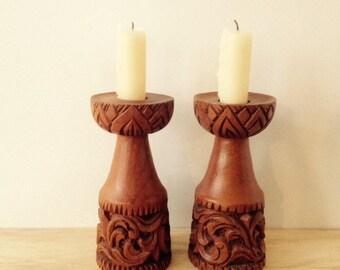 Boho carved wooden candlesticks / candle holders