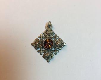 Vintage Silver Jerusalem Cross Brown Gem Religious Pendant