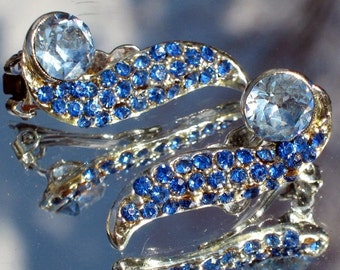 Blue Vintage Crystal Rhinestones Earrings Wedding Hollywood Pave Bling Bold Runway Statement Mid Century Exquisite Pin Up Cheesecake Couture