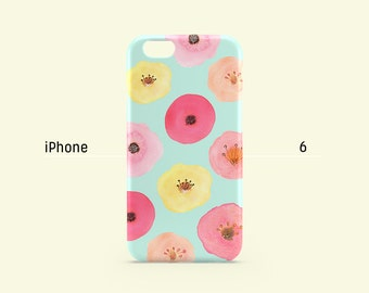 iPhone 6s Case - Pastel Pink Yellow Peach Floral - iPhone 6 Plus case, iPhone 5s case, iPhone 7, iPhone SE, hard shell non-glossy C02..