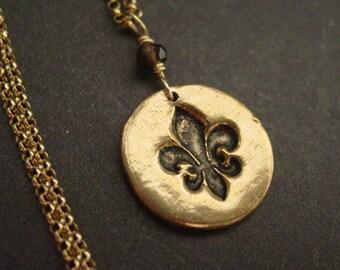 Fleur de Lis necklace- bronze