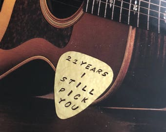 CUSTOM Guitar Pick - BRASS Pick - Functional Gift - Birthday - Anniversary - Wedding - Graduation - Thank You - Welcome Home - Deployment