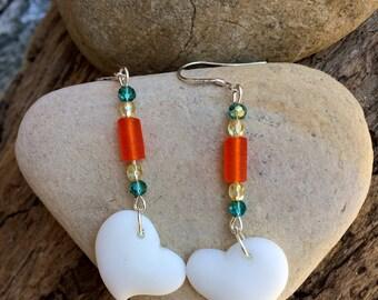 Sea Glass Earrings, White Heart Earrings, Sea Glass Heart Earrings