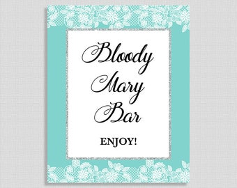 Bloody Mary Bar Shower Sign, Turquoise and White Lace Shower Party Sign, Bridal, Baby Shower, INSTANT PRINTABLE