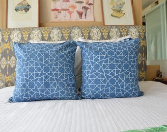 Geometric Indigo Star Pattern Pillows from Bali