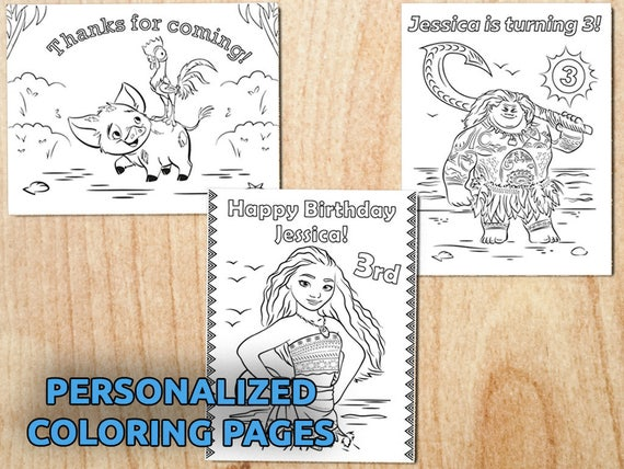 Moana Birthday Party Coloring pages