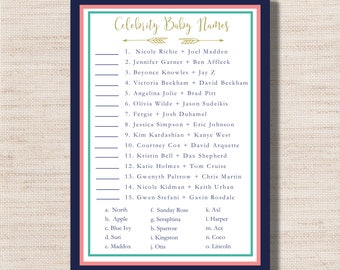 Celebrity Baby Names Game for Baby Shower  - PRINTABLE - Digital File