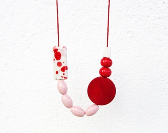 White, Pink and Red Necklace, Geometric Necklace, Ceramic And Wood Necklace, Long Ceramic Necklace, Bold Necklace, Statement, Аsymmetric