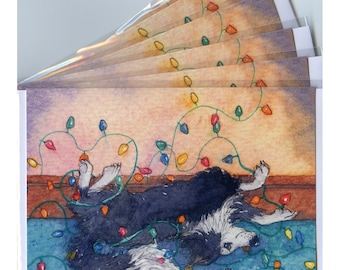 6 x Border Collie dog Christmas cards - helping with the lights