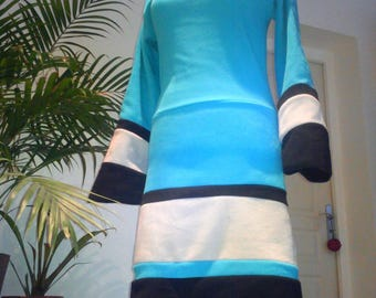 "The sweater polar fleece dress all backwards ""Long"" Turquoise / light grey / black"