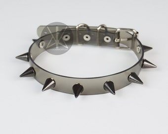 Black Spikes Choker Collar | Clear Choker | Spiked Choker | Transparent Vinyl | Black Metal | Baby Spike Choker | Kadabra