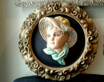 Large Round 3D Chalkware Plaster Portrait Sculpture Plaque Wall Hanging Art Antique Gold Baroque Scroll Frame Young Girl Hat Hand Painted