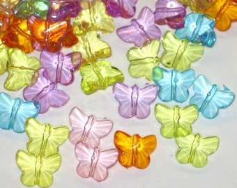Acrylic Butterfly Beads Transparent Mix (30)