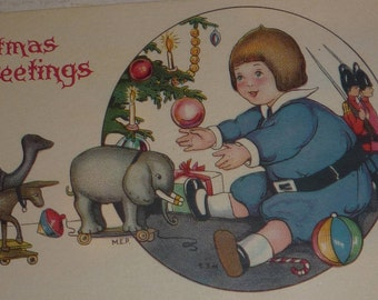 A/S Margaret E. Price Little Boy With Christmas Toys Antique Christmas Postcard