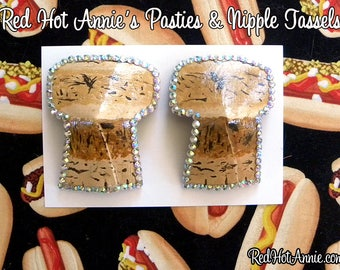 Pop A Cork Champagne Hand-Painted Burlesque Pasties