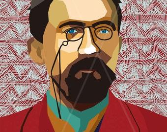 "Portrait ""Anton"" - Tribute To Anton Tschechow |Chekhov - FRAMED ART, Literature, iconArt, Personalized Gift, Name, Book Lover, Gift, Women"