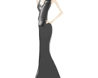 Fashion Illustration Art Print - Long Black Evening Gown