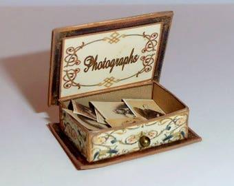 Dollhouse Miniature 1/12th vintage photograph box