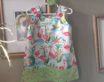 Florida Flamingos Dress, (infant, baby, girl, toddler,child) with matching hair accessory.