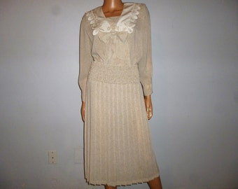 Vintage 80's - Sheer - Tan - Ivory -  Polka Dot - Embellished - Bow Tie - Embroidered - Collar - Pleated  - Dress - Marked size 4