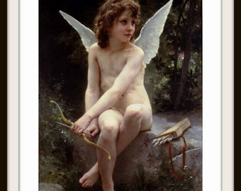 Love on The Look Out (Cupid) Angel by W. Bouguereau 1890 Giclee Fine Art Print - Valentine Art Print - Angel Art - Cupid Poster