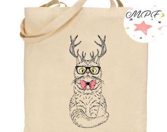 Tote bag cat deer
